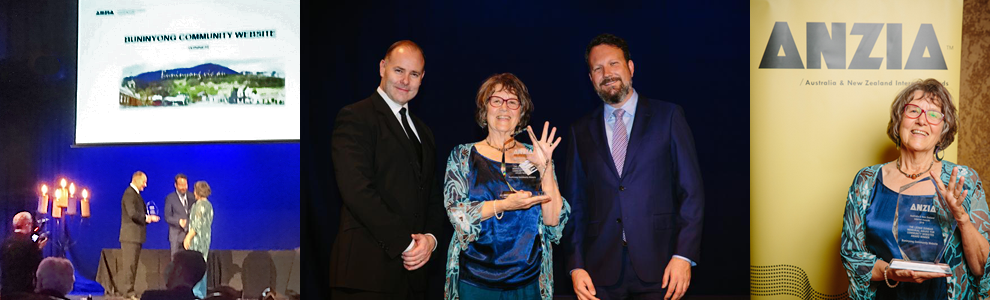 Buninyong Community Website is awarded the 2016 <em>Leonie Dunbar Memorial Award for Community Websites</em> by the CEOs of auDA and Internet NZ, Cameron Boardman and Jordan Carter. Liz Lumsdon holds the Community Website trophy
