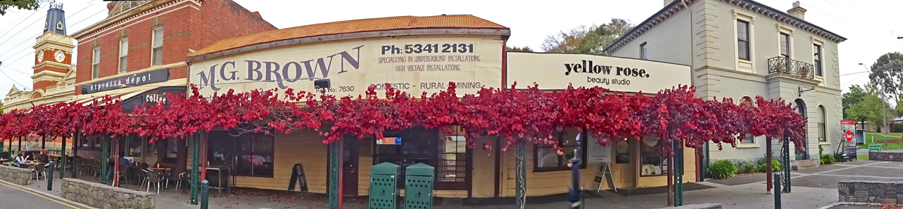 Learmonth St shops in autumn